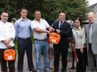 Kieran Egan, Director of Safety-Tec presenting Ignacio Peregrina, General Manager and Staff Members of the Jameson Experience, Cork with a new AED along with representatives of Phoenix Safety
